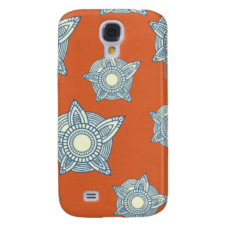 Batik boho chic girly tribal orange damask pattern galaxy s4 cover