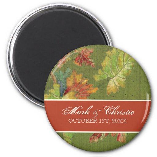 Batik de la hoja de la uva del otoño de la invitac imán de frigorifico