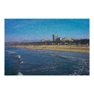 Batik de la playa de Santa Mónica Póster