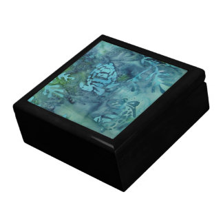 Batik de las tortugas de mar joyero cuadrado grande