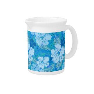 Batik del azul del hibisco jarras de beber
