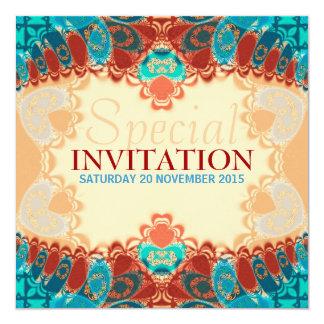 "Batik Exotic Square Birthday / Special Invites 5.25"" Square Invitation Card"