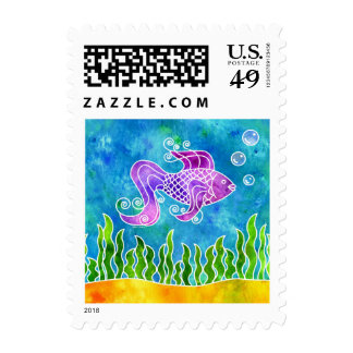 Batik Fishy Postage Stamp