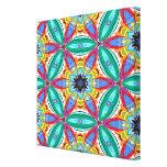 Batik flower mandala shape gallery wrapped canvas