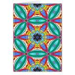 Batik flower mandala shape greeting card