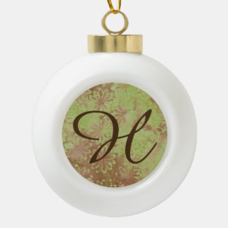Batik Green Lime Coconut Christmas Ball Letter H Ceramic Ball Christmas Ornament