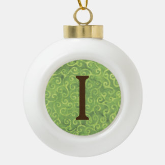 Batik Green Lime Coconut Christmas Ball Letter I Ceramic Ball Christmas Ornament