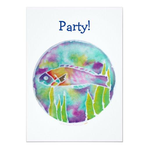 """Batik Hinalea Hawaiian Wrasse Fish Batik Art 5"""" X 7"""" Invitation Card"""