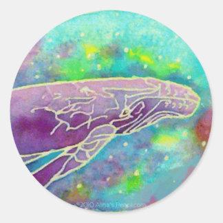 Batik Humpback Whale Art Classic Round Sticker