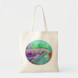 Batik Humpback Whale Art Cotton Canvas Tote Bag