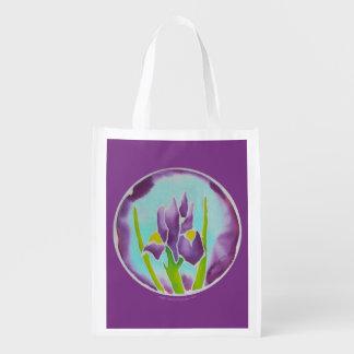Batik Iris Flower Purple Reusable Grocery Bag