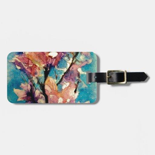 Batik japonés de la acuarela de la magnolia etiquetas bolsa