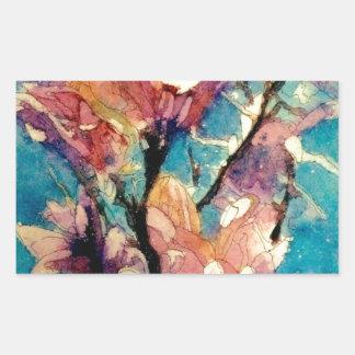 Batik japonés de la acuarela de la magnolia pegatina rectangular