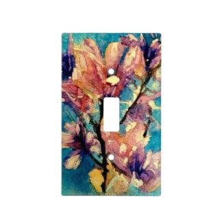 Batik japonés de la acuarela de la magnolia cubierta para interruptor