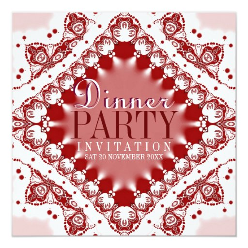 Batik Lace Red White Dinner Party Invitations