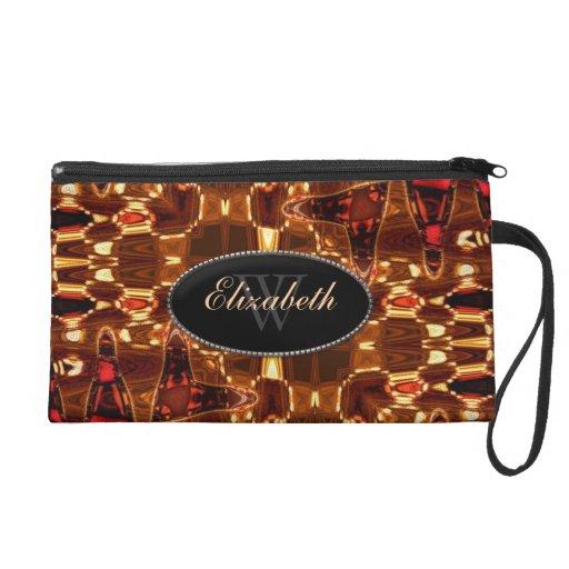 Batik Liquid Gold Abstract Fashion Accessory Wristlet Purse