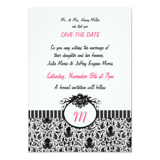 Batik Monogram Save the Date Announcement