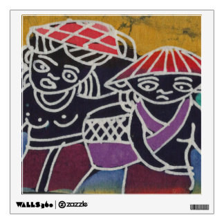 Batik Painting - going to the market Wall Sticker