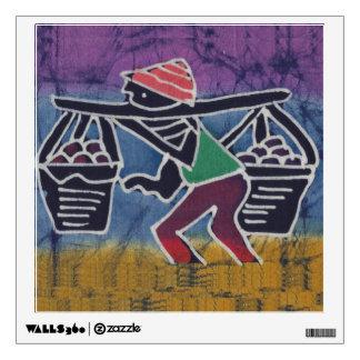Batik Painting of a street vendor Wall Sticker