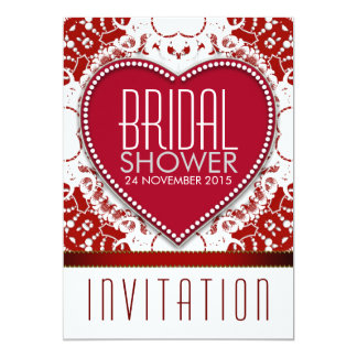 Batik Red Love Heart Bridal Shower Party Invite