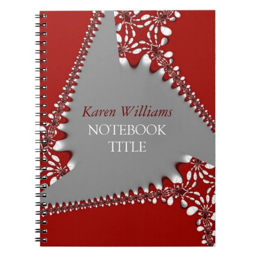 Batik Red Silver Abstract Lace Notebook