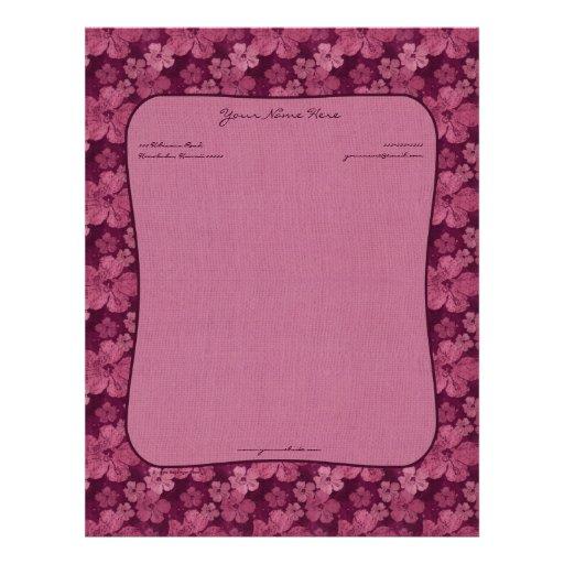 Batik rosado de las flores del hibisco plantilla de membrete