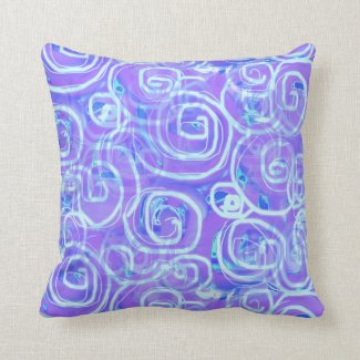 Batik-Style Purple Printed Throw Pillow