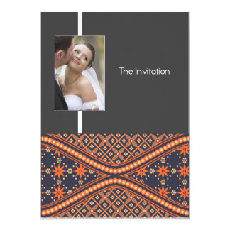 batik style wedding invitation card