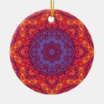 Batik Sunset Watercolor Mandala Ceramic Ornament
