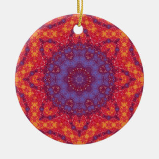 Batik Sunset Watercolor Mandala Christmas Tree Ornament