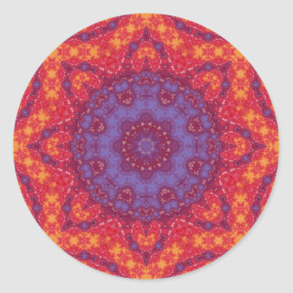 Batik Sunset Watercolor Mandala Round Stickers
