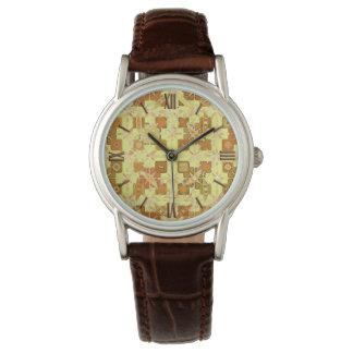 Batik tribal - amarillo, marrón de oro y moreno relojes de mano