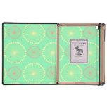 Batik tribal girly floral chic green dots pattern iPad folio case