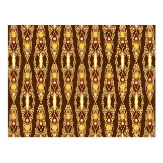 Batik tribal - marrón y beige postales