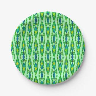 Batik tribal - menta, verde esmeralda y azul plato de papel de 7 pulgadas