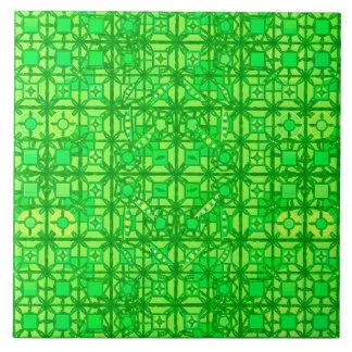 Batik tribal - sombras del verde esmeralda azulejo cuadrado grande