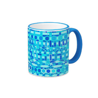 Batik tribal - turquesa, aguamarina y azul de taza de dos colores