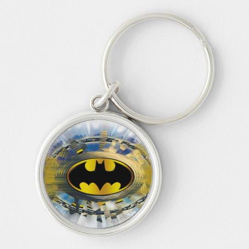 Batman adornó el logotipo llavero redondo plateado