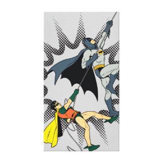 Batman And Robin Climb Stretched Canvas Print