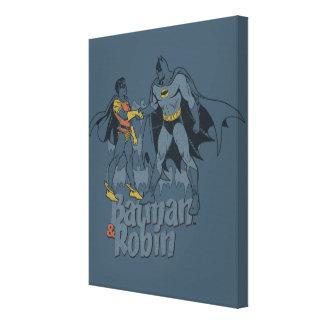 Batman And Robin Distressed Graphic Canvas Print