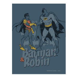 Batman And Robin Distressed Graphic Postcard