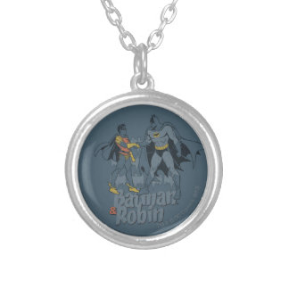 Batman And Robin Distressed Graphic Silver Plated Necklace
