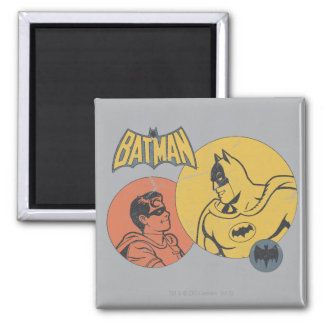 Batman And Robin Graphic - Distressed 2 Inch Square Magnet