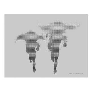 Batman And Robin Halftone Gradient Postcard
