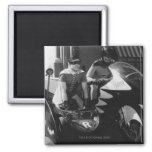 Batman and Robin in Batcycle 2 Inch Square Magnet