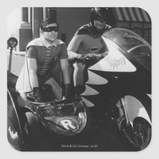 Batman and Robin in Batcycle Square Sticker