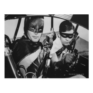 Batman and Robin In Batmobile Postcard