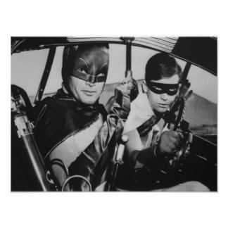 Batman and Robin In Batmobile Poster
