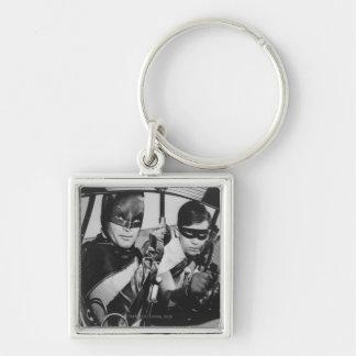 Batman and Robin In Batmobile Silver-Colored Square Keychain
