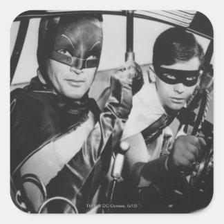 Batman and Robin In Batmobile Square Sticker